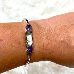 HANDMADE Herkimer Diamond Amethyst Bangle Bracelet